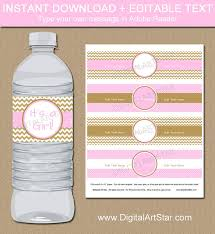 pink u0026 gold baby shower water bottle labels editable