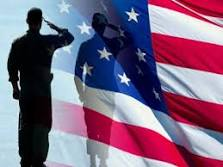 Soldier Saluting with Flag