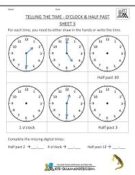 Tlsbooks English Worksheets Telling Time Worksheets O U0027clock And Half Past