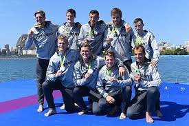 Rower Felix Drahotta  RTHC Bayer Leverkusen  and his team mates from  Germany     s men     s coxed eight  Bayer