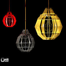 3d cage pendant lamps by dare studio cgtrader