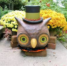 bethany lowe halloween large owl with top hat paper mache lantern