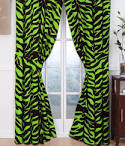 Lime Green Zebra Print Curtains and Valance