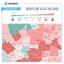 Zip Code Map Of Los Angeles by La Rent Prices Increased 11 6 In 2015 The Zumper Blog