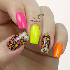 neon stained glass nail art gel polish nails for nsi lucy u0027s