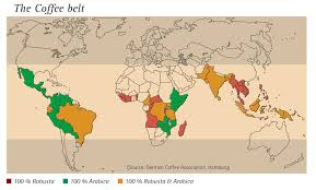 Diagram Of The World Map by The Coffee Belt A World Map Of The Major Coffee Producers Good