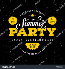 Desing by Summer Party Lettering Flyer Banner Poster Stock Vector 422459983