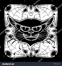 halloween illustration black cat head on stock vector 492784423