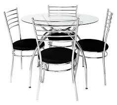 Buy HOME Lusi Glass Dining Table And  Chairs Black At Argosco - Black dining table for 4