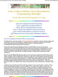 Software For Spreadsheets Excel Spreadsheets For Lott Lottery Powerball