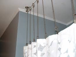 shower curtain rod with chains instead after bathroom with gray