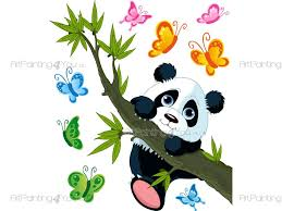 panda bear wall decals for kids vdi1132en artpainting4you eu panda bear wall stickers for baby room with a little panda bear on the tree