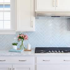 Blue Backsplash Kitchen Young House Love Lovely Blue Herringbone Tile Marble Counters