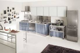 Stainless Steel Kitchen Furniture by All Over Silver Color Countertop Silver Laminated Wooden Kitchen