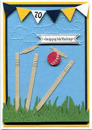 Handmade Farewell Invitation Cards Handmade Card Cricket Themed 70th Birthday Card Made Especially