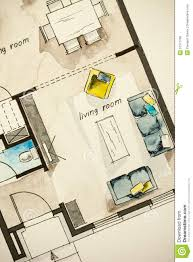 Room Floor Plan Free Watercolor And Ink Freehand Sketch Drawing Of Apartment Flat Floor