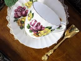 tuscan teacup and saucer roses motif bone china tea cup made in