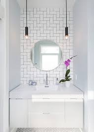 Crackle Subway Tile Bathroom Contemporary With Wall Hung Vanity - Crackle subway tile backsplash