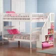 bedrooms for girls with bunk beds woodcrest heartland twin over full stairway bunk bed honey