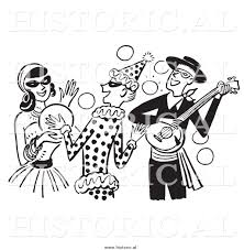 clipart of people having fun at a halloween costume party black