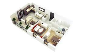 Interior Design Ideas For Open Floor Plan by 2 Bedroom House 3d Plans Open Floor Plan 2017 Also More