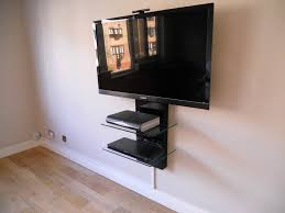 interior flat screen wall tv mount with two glass shelves