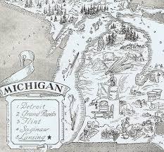 Detroit Michigan Map by Vintage Michigan Map Michigan Map