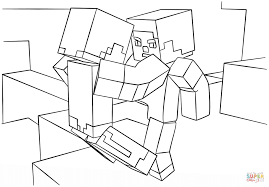minecraft fight scene coloring page free printable coloring pages