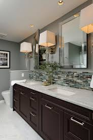 Bathroom Cabinet With Mirror And Light by This Gray Contemporary Bathroom Features A Double Vanity Design