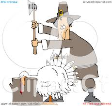 pilgrims on thanksgiving clipart of a cartoon pilgrim ready to chop the head off of a white