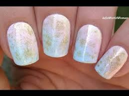 ombre nail art in pastels u0026 gold diagonal sponge nails youtube