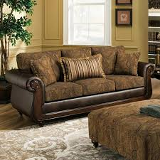Sofa With Wood Trim by Oneida Traditional Sofa Wood Trim Isle Tobacco Fabric Dcg Stores