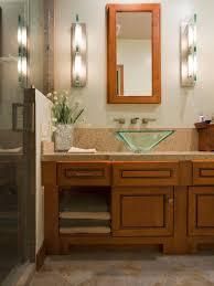 bathroom bathroom rectangle brown wooden frame wall miror above