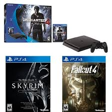 ps4 console amazon black friday 500gb sony ps4 slim uncharted 4 bundle w skyrim se fallout 4