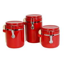 red canister set for kitchen kenangorgun com pottery