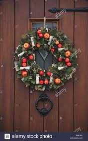 christmas door wreath festive xmas decoration hard wood panel