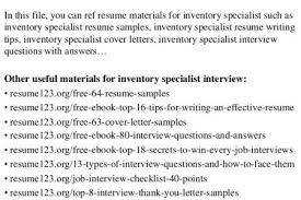 Inventory Specialist Resume Sample inventory control specialist resume latest resume format