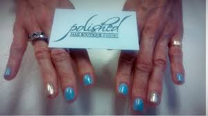 blue with a touch of rose gold polished nail boutique facebook