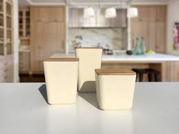 bamboo fiber kitchen canister 3 piece set with airtight bamboo lid