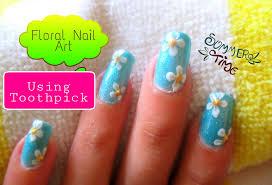 easy flower nail art using toothpick youtube