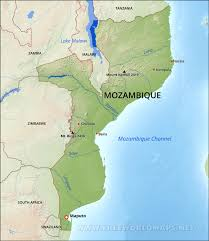 Physical Map Africa by Mozambique Physical Map