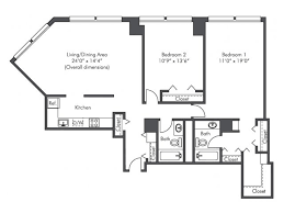 Two Bedroom Apartment Floor Plans 2 Bed 2 Bath Apartment In Chicago Il Presidential Towers