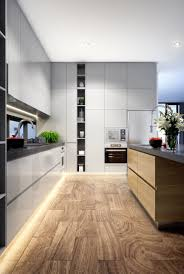 Grey Interior Kitchen Design Led Strip Timber Flooring Grey Interior