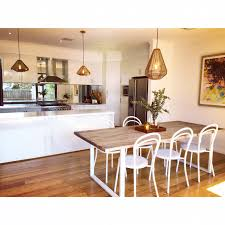 Teak Dining Room Table And Chairs by Teak Wood Dining Table White Powder Coated Legs White Steel