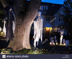 Scary Halloween House Decorations Spooky Halloween Decoration Ghosts And Cemetery In The Front Yard