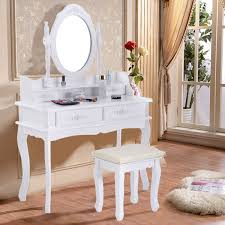 White Shabby Chic Dressing Table by White Vanity Makeup Dressing Table With Mirror 4 Drawers 35 4
