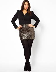 image 4 of club l plus size wrap dress with sequin skirt dream