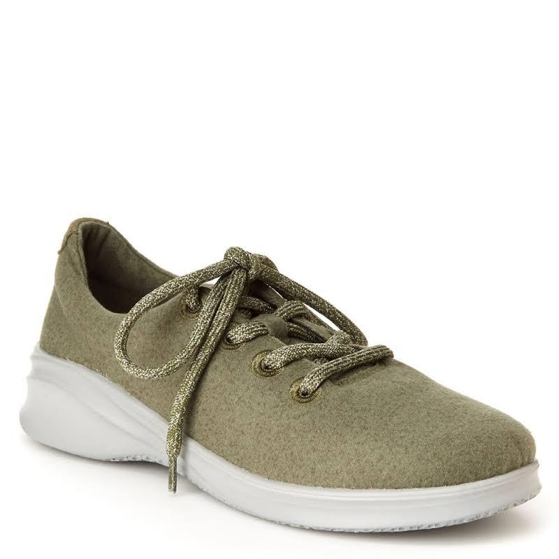 JSport by Jambu Crane Wool Lace-Up Fashion Sneakers Green 8 Medium (B,M)