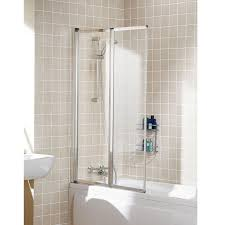 showerlux designa 900mm over bath shower screen with wide panel