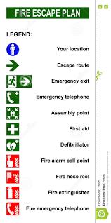 set of symbols for fire escape evacuation plans stock vector